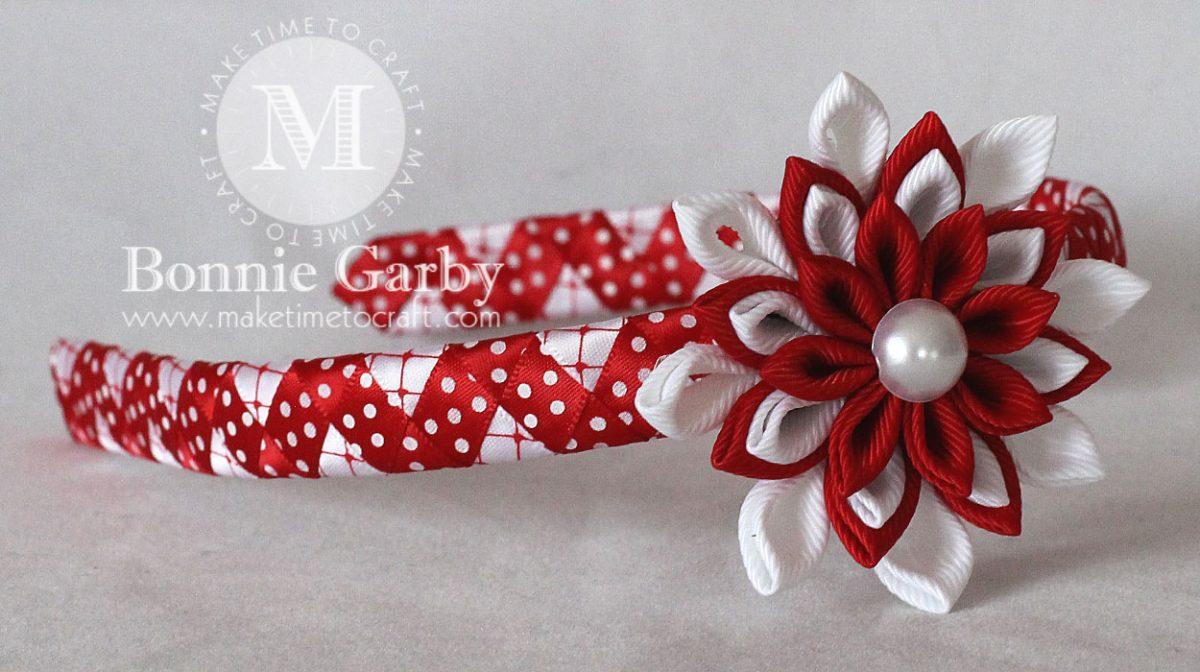 Red and White Kanzashi Woven Ribbon Headband