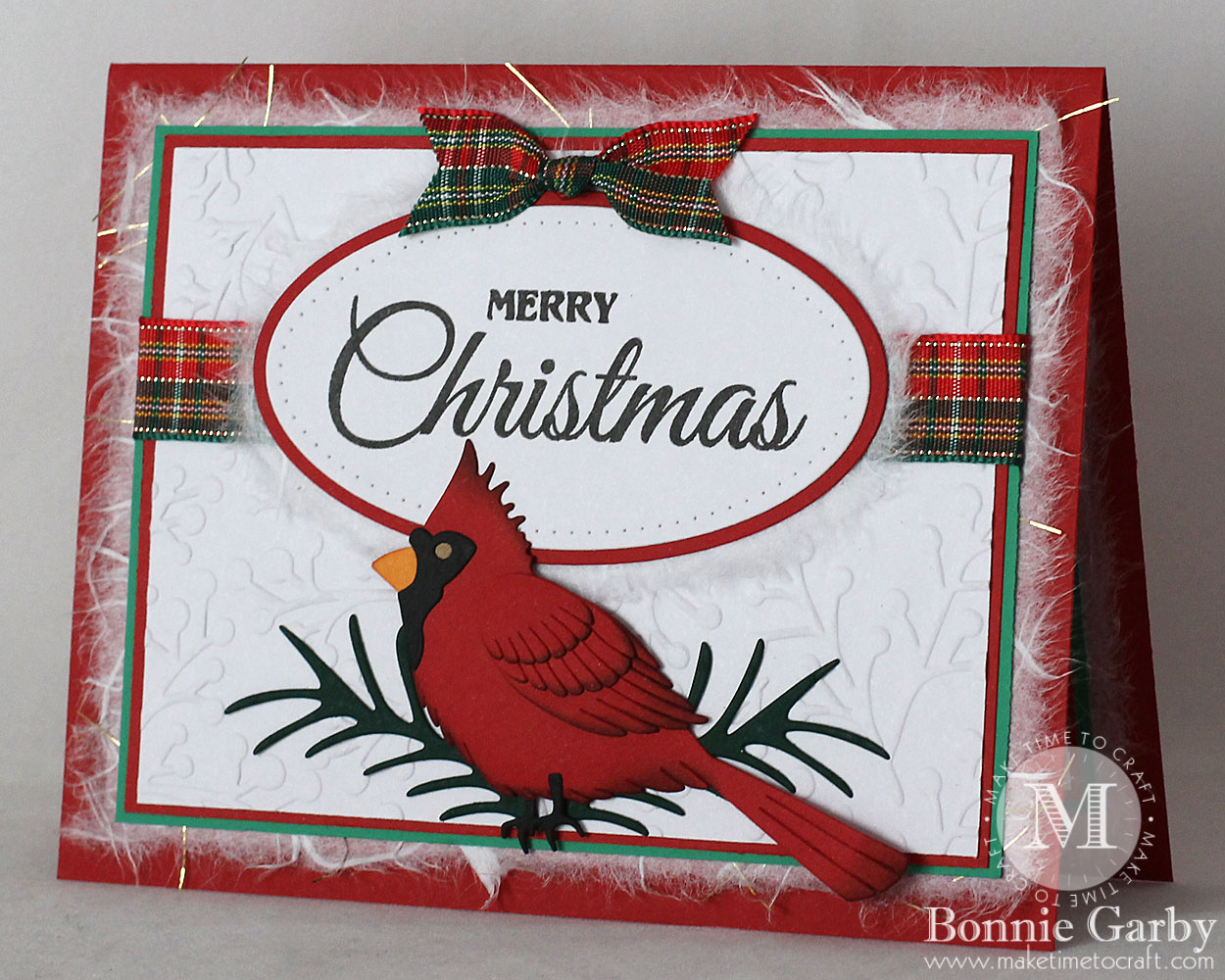 Handmade Christmas Card with ribbon