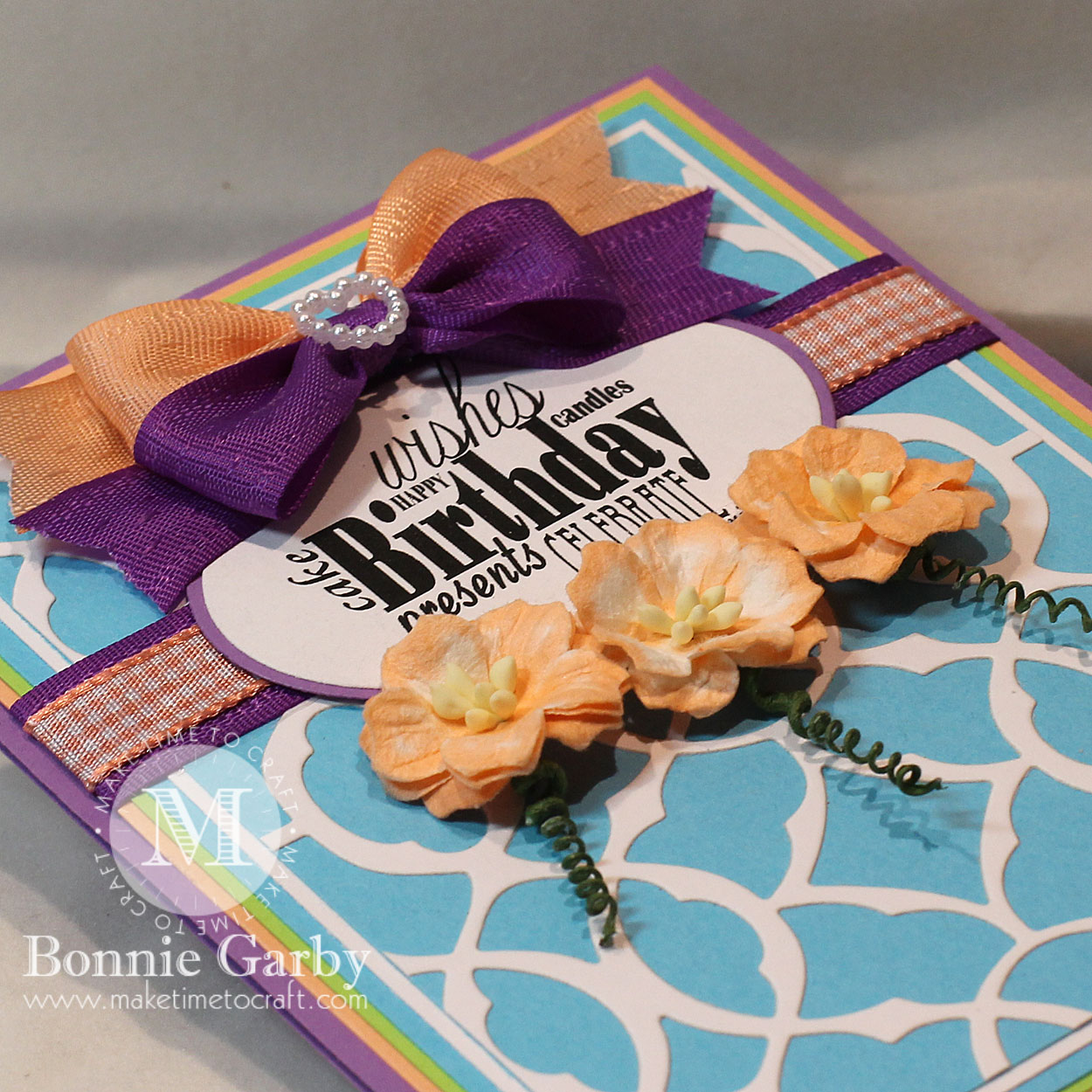 Handmade card with Ribbon and Mulberry Flowers from Really Reasonable Ribbon