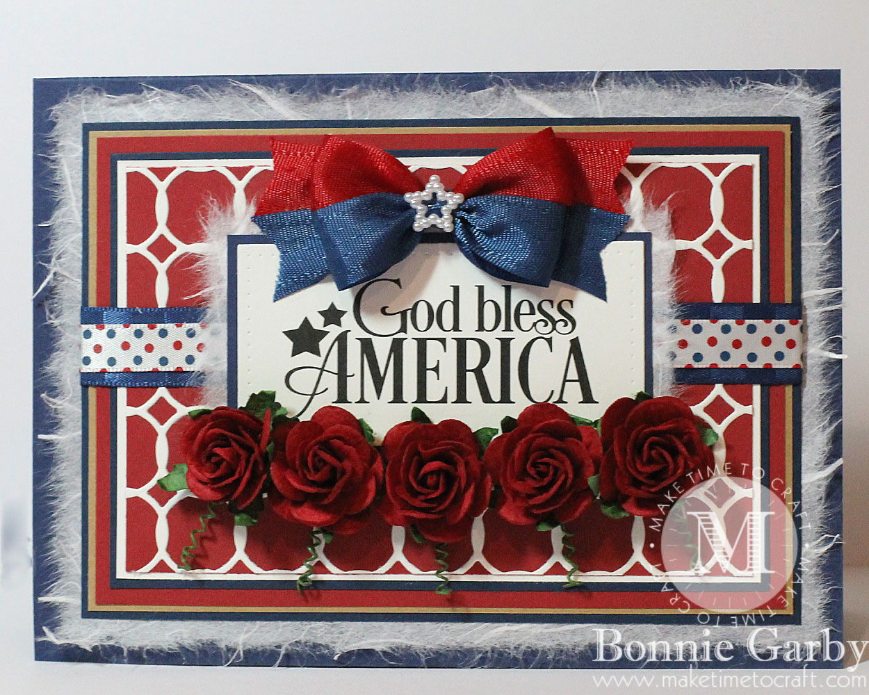 handmade patriotic card with ribbon