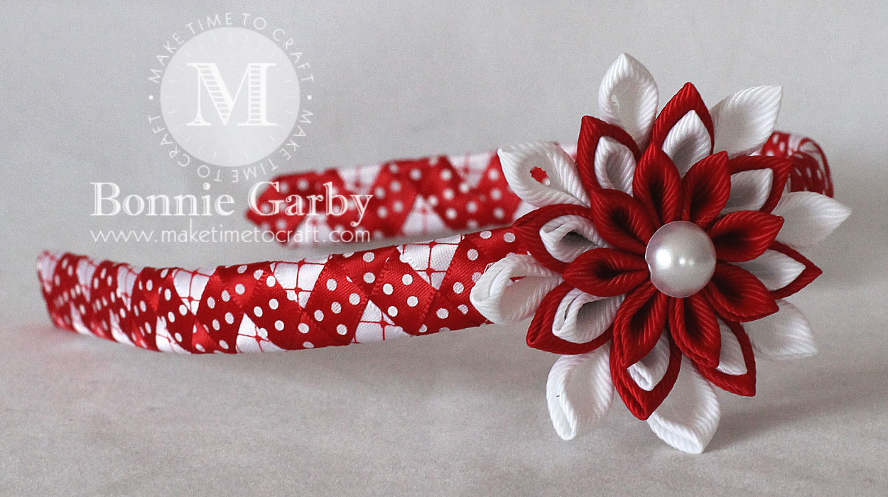 Red and White Kanzashi Woven Ribbon Headband