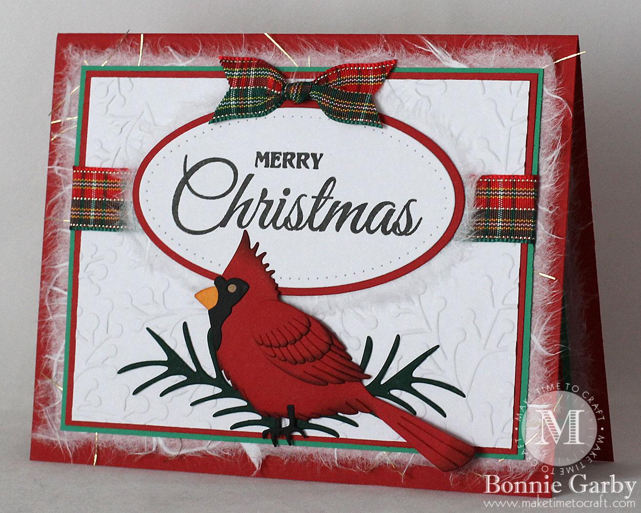 Handmade Christmas Card with ribbon