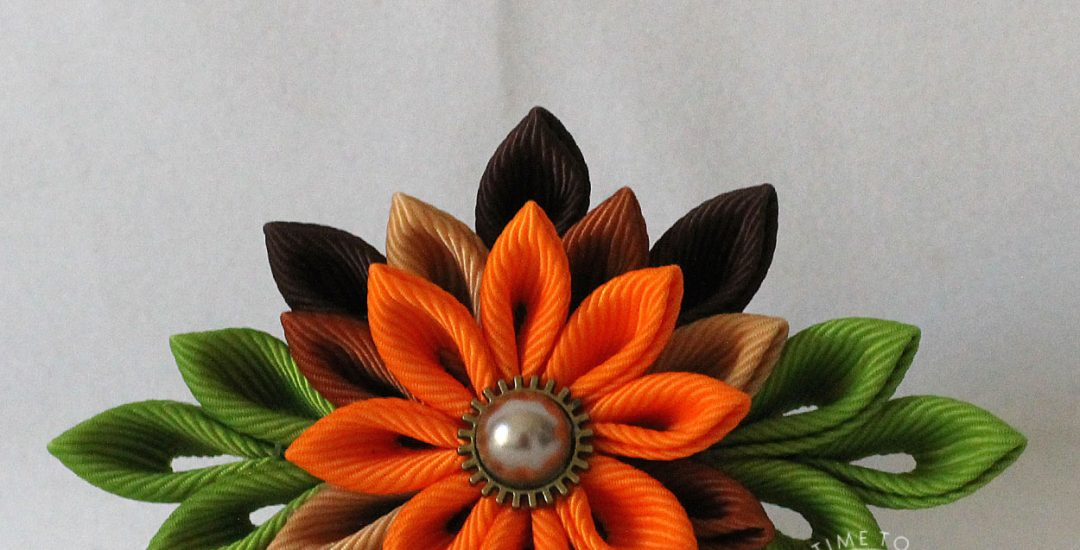 Autumn Kanzashi Ribbon Flower