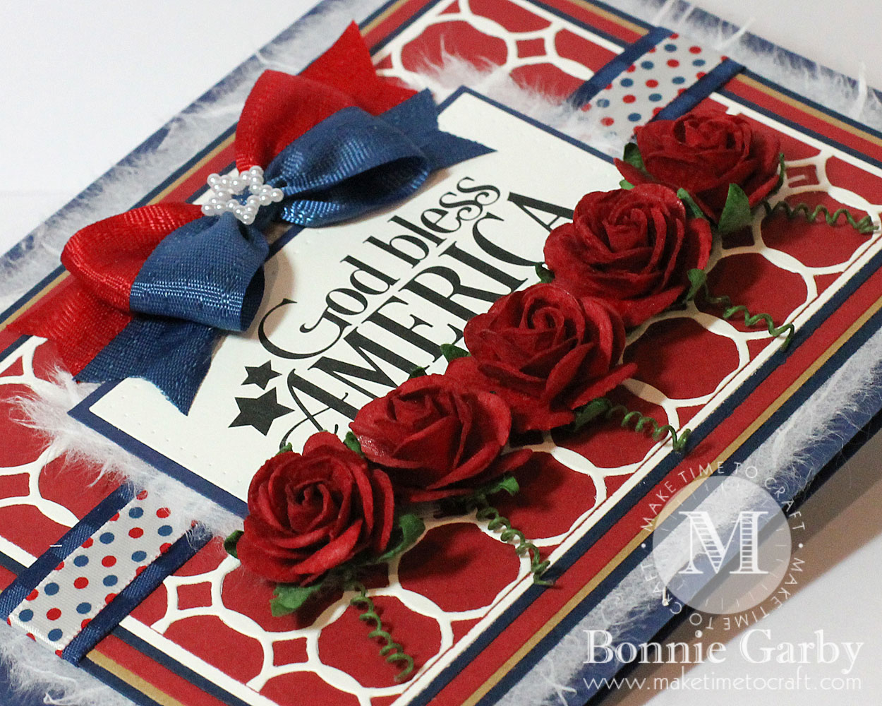 handmade patriotic card with ribbon and mulberry flowers