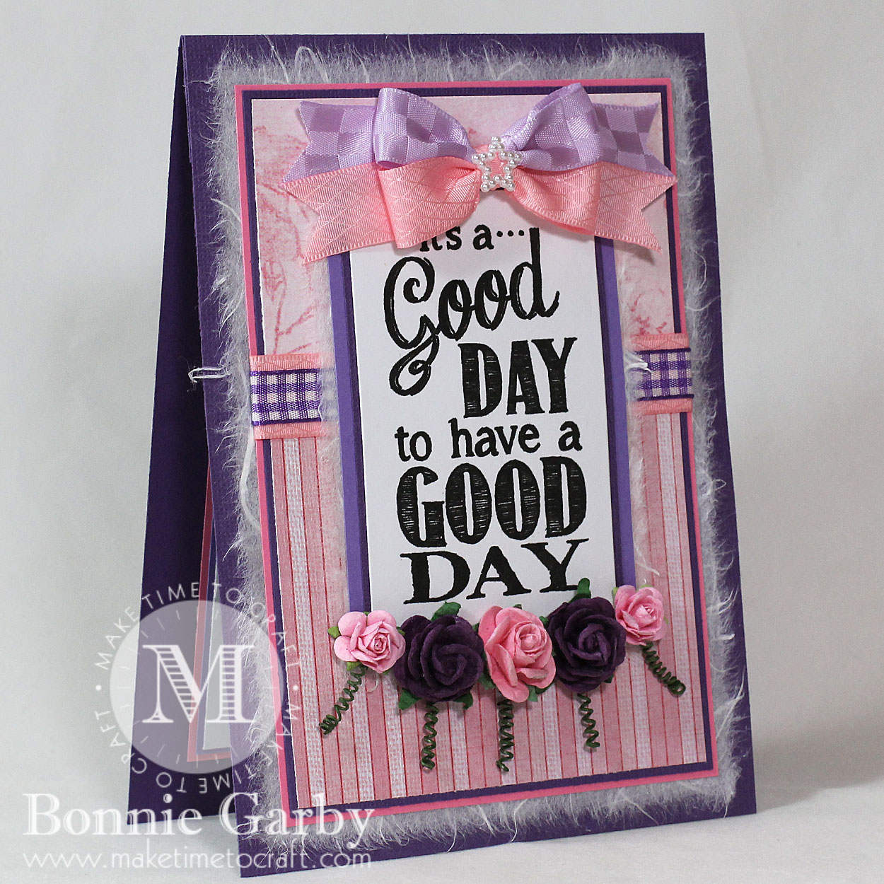 Handmade Greeting Card with Ribbon