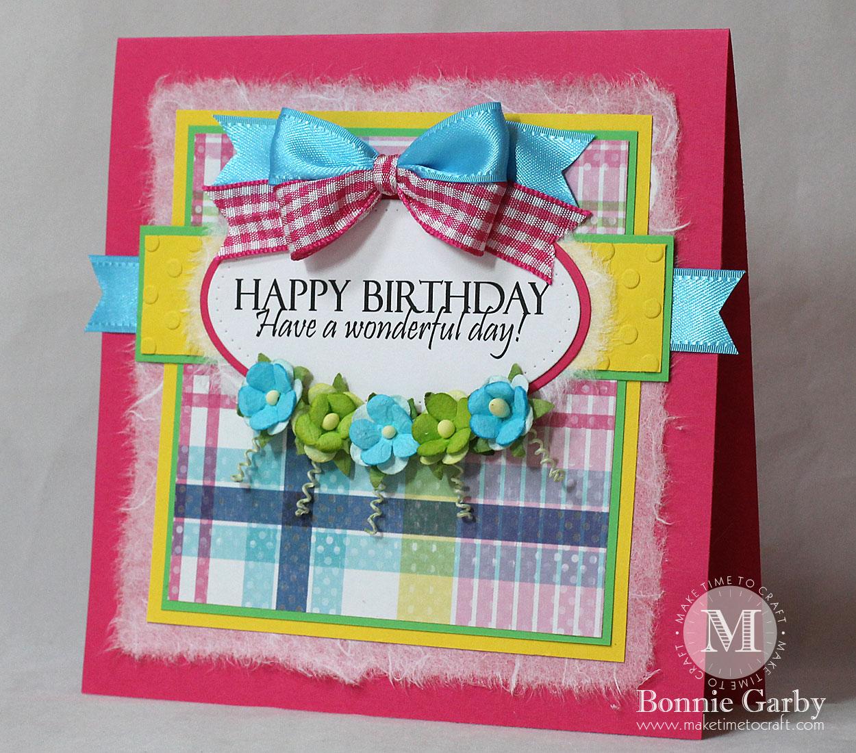 Handmade Birthday Card with Ribbon